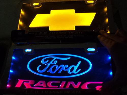 porta placa de acrilico con luz ford chevrolet gm dodge