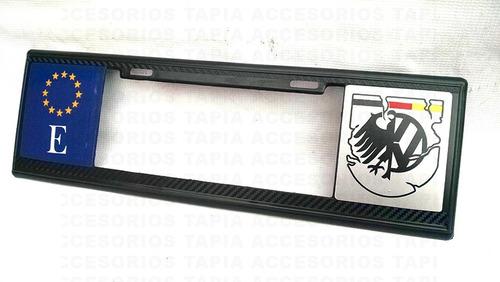 porta placa universal tipo euro acabado en fibra de carbono