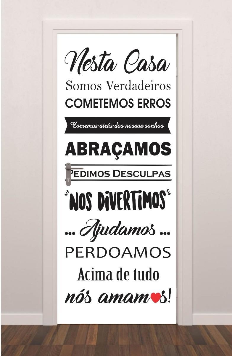 Porta Plotagem Quarto Sala Frase Nesta Casa Família Amor Fé R 199
