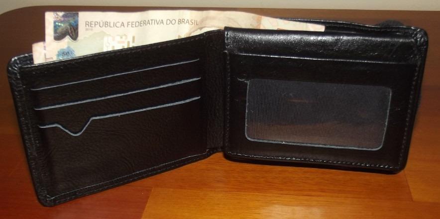 692c0c59b Carteira Masculina Couro Legítimo Porta Cnh 8 Porta Cartões - R  36 ...