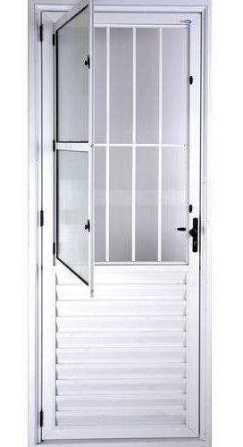 porta postigo 2,10 x 0,80 alumínio brilhante