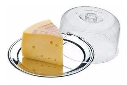 porta queijo inox com tampa em acrílico queijeira - ecolumi
