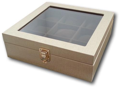 porta-relógios para 9 relógios c/ expositor em vidro! lindo!
