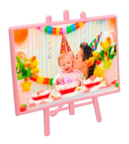 porta retrato 10x15 - cavalete vertical rosa - 20 unidades