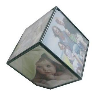 porta retrato divertido cubo giratório para 6 fotos 10x10cm
