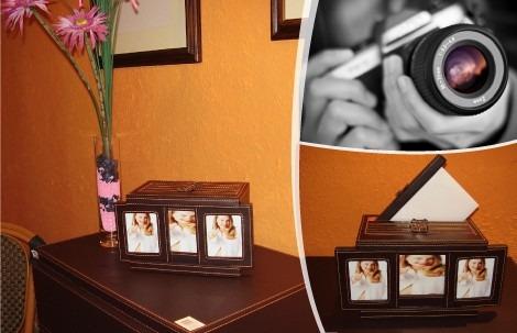 porta retrato en cuero con album incorporado