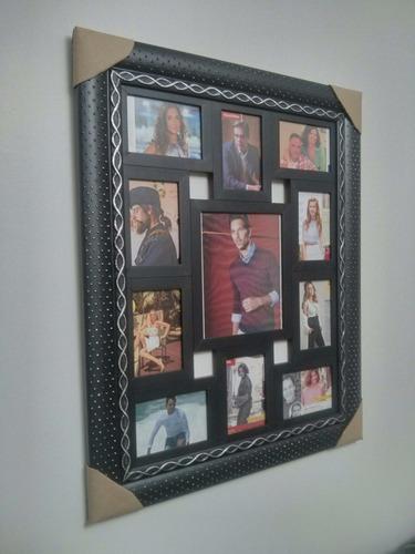 porta retrato grande 11 fotos para parede com moldura