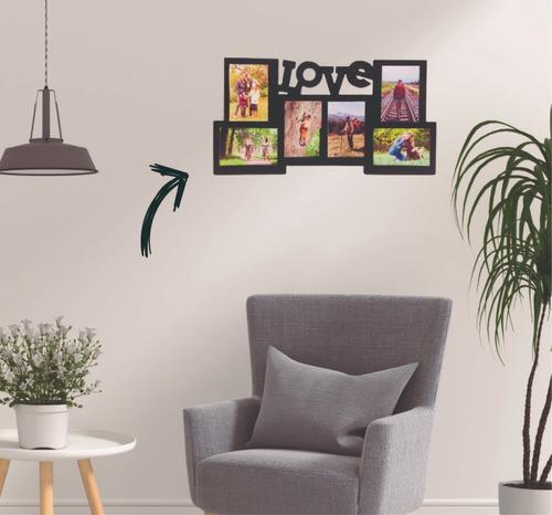 porta retrato multiple de mdf de 12mm love con tus fotos