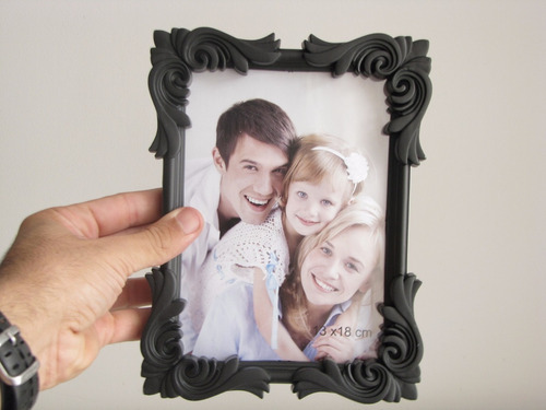 porta retrato preto vintage/retro de plastico