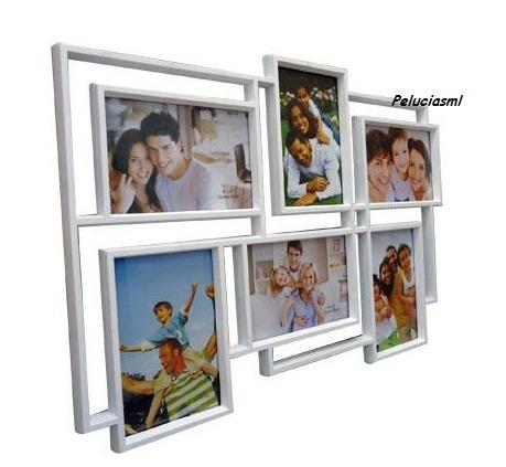porta retrato quadriculado vazado 6 fotos