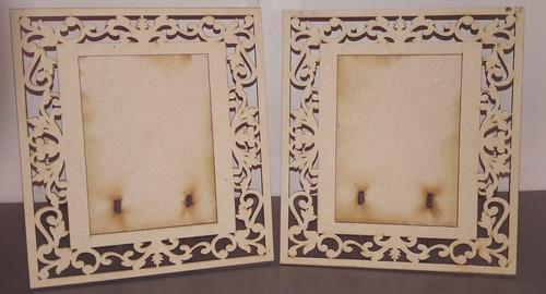 porta retrato recto decorado cortado con laser foto 13 x 18