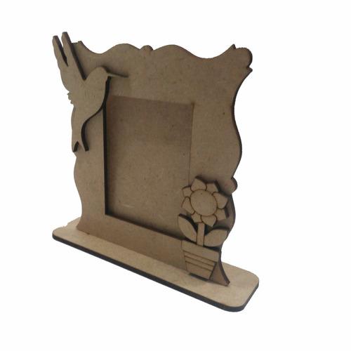 porta retrato vertical passaro vaso decoração mdf cru