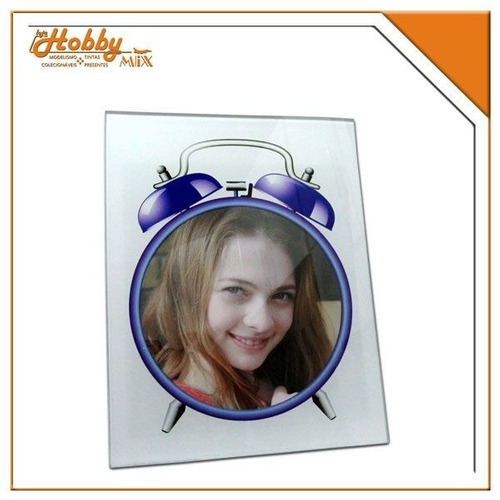 porta retrato vidro relógio - foto 10x15 cm central