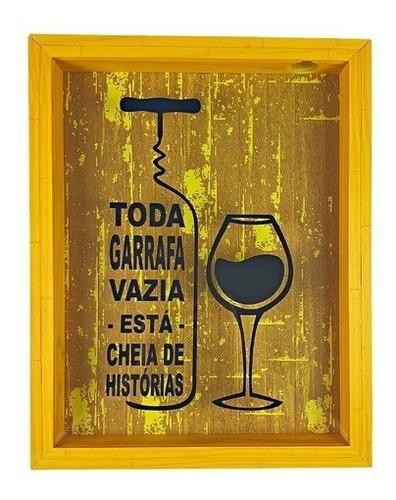 porta rolha quadro grande 25x35 com vidro vintage garrafa va