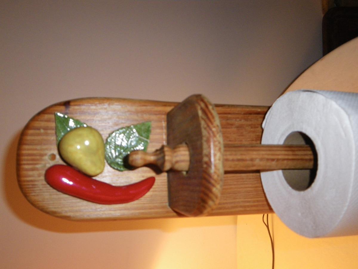 Porta rollo papel cocina de madera adornos ceramica bs for Adornos de madera para pared