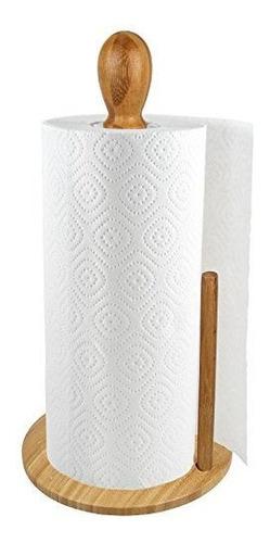 porta rollo toalla papel toallero de bambu