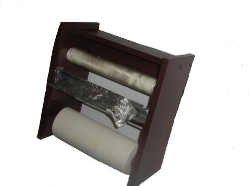 Porta rollos cocina 3 tipos de papel y especiero 420 for Portarrollos de cocina