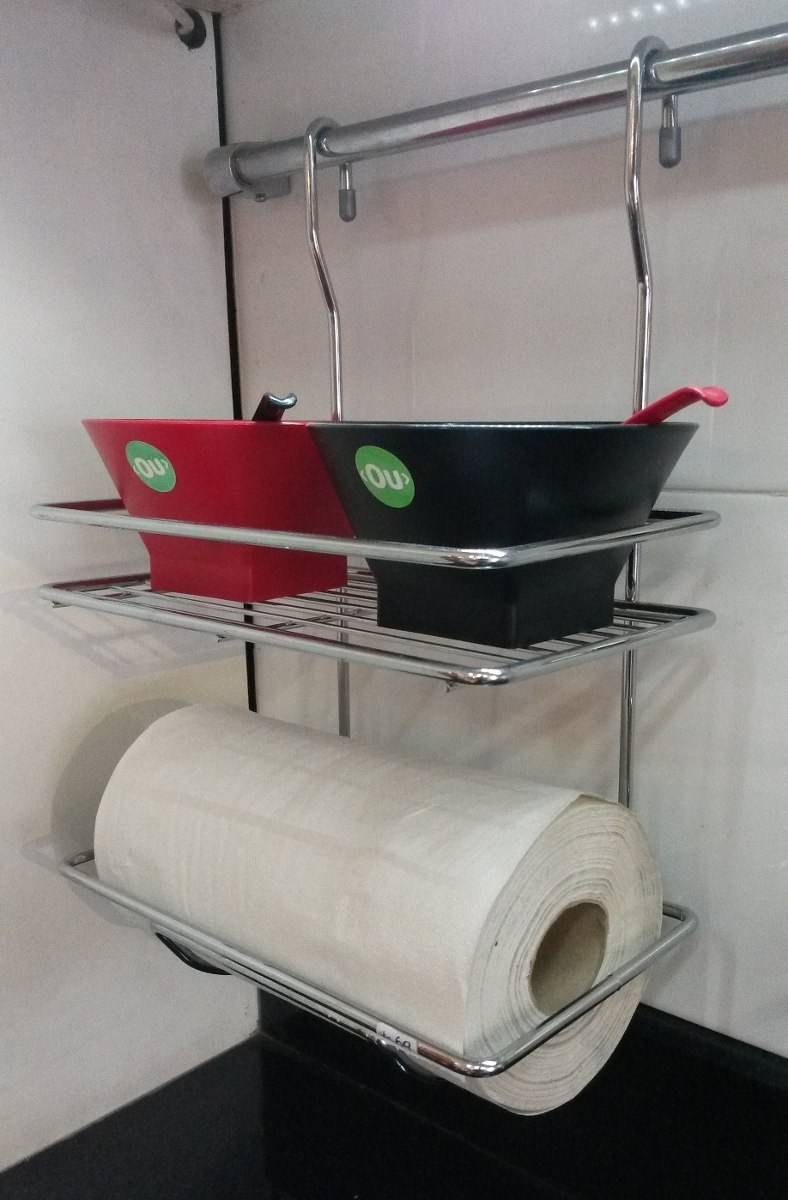 Porta rollos de cocina colgante cromado accesorio cocina - Accesorio de cocina ...