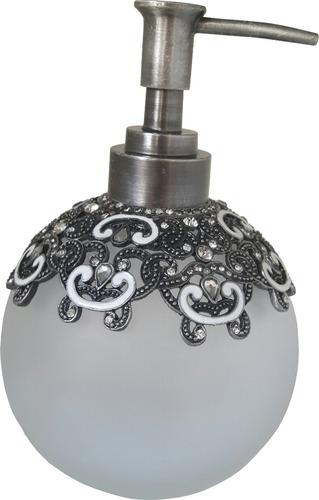 porta sabonete líquido detalhes em prata c/ cristal - luxo!