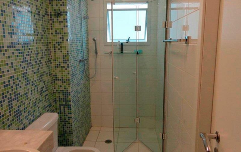 Porta Shampoo De Parede Inox Banheiro Com Vidro 32cm Jocal  R$ 44,99 em Mer # Box Para Banheiro Rio Pequeno