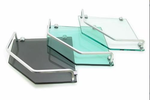 porta shampoo prateleira canto vidro transparente  8mm  1 pç