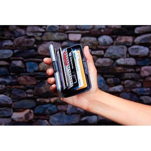 porta tarjetas o tarjetero aluminio saving