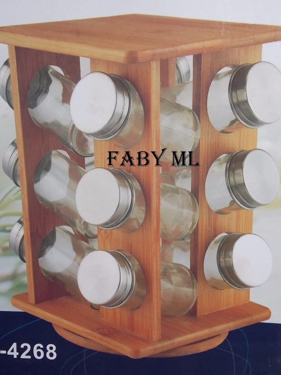 Porta tempero condimento 12 potes inox e madeira for O que e porta condimentos