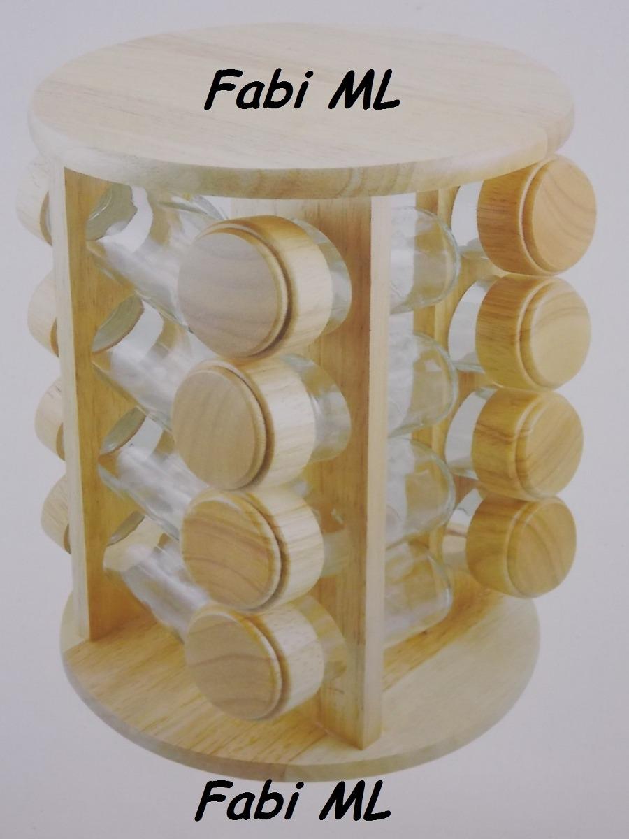 Porta tempero condimento 16 potes inox e madeira for O que e porta condimentos