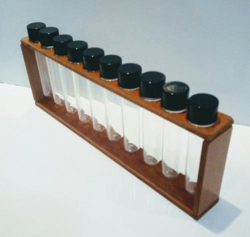 porta tempero (suporte)condimentos em madeira com 10 tubetes