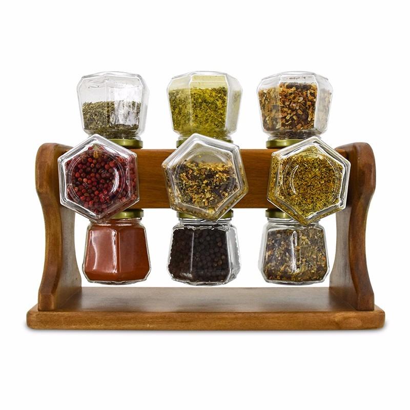 Porta temperos condimento madeira girat rio 12 potes vidro for O que e porta condimentos