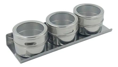 porta temperos e condimentos magnético em inox com 3 peças