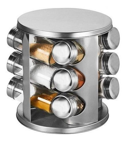porta temperos giratório com 12 potes em inox do chef