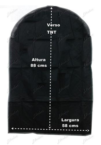 porta terno com zíper em tnt preto capa camisas roupas vestu