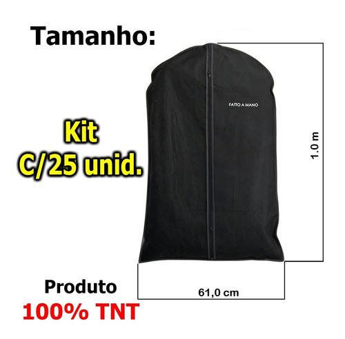 porta terno, roupa, 100% tnt, c/ziper - preto - c/25