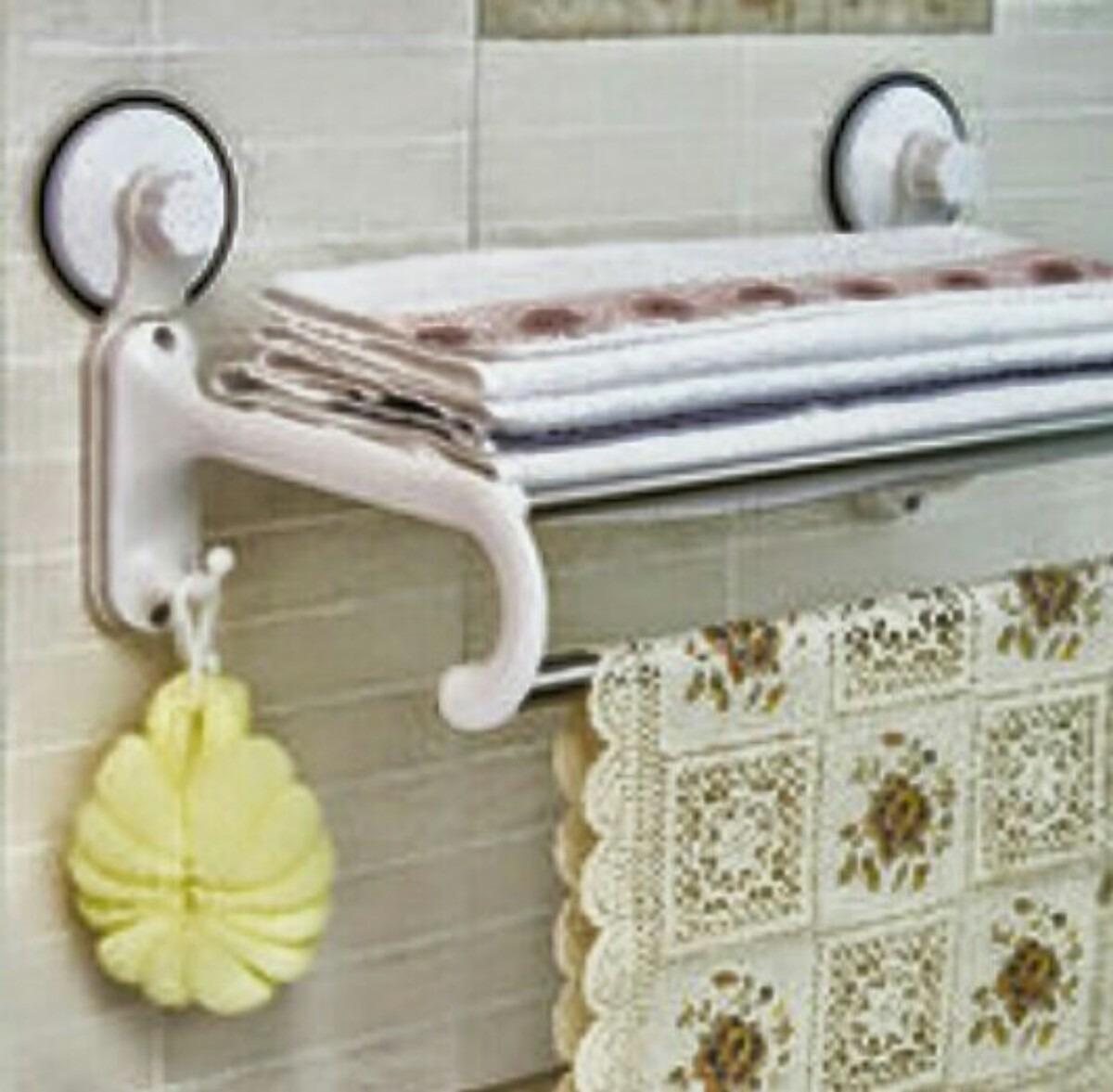 Porta toallas con repisa no usa pernos ni tornillos 11 - Porta toallas para bano ...