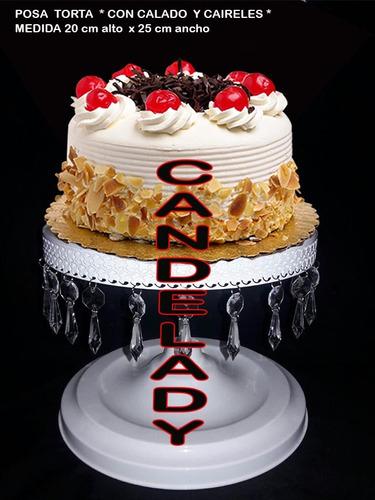 porta torta , en hierro , con caireles