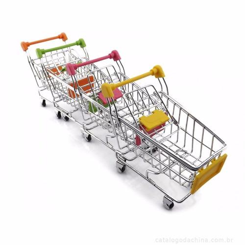 porta treco mini carrinho compras supermercado - 06 pçs