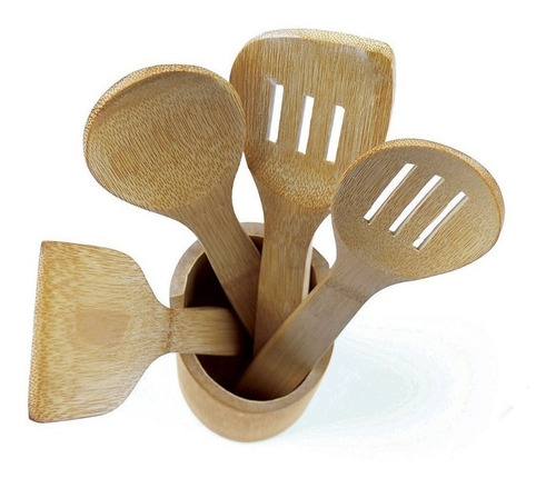 porta utensílios cozinha bambu colheres espátulas 5 peças