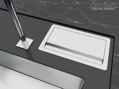 porta utensílios escova e objetos embutido aço inox
