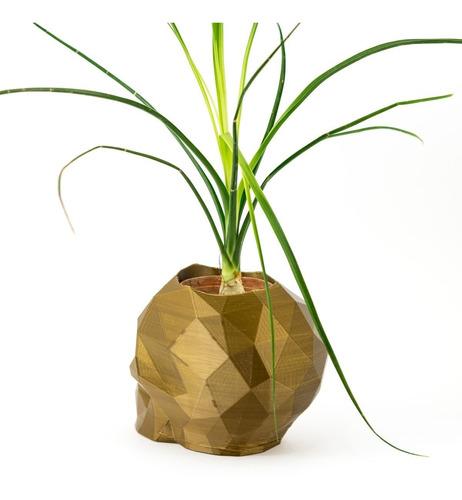 porta vaso caveira lowpoly para suculenta/cactus - decoração