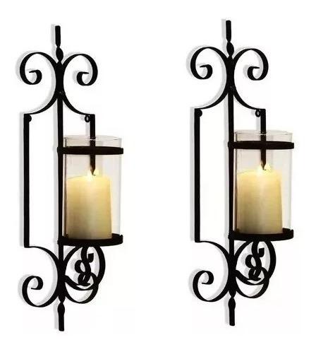porta vela de ferro porta vela candelabro de ferro 2 peças