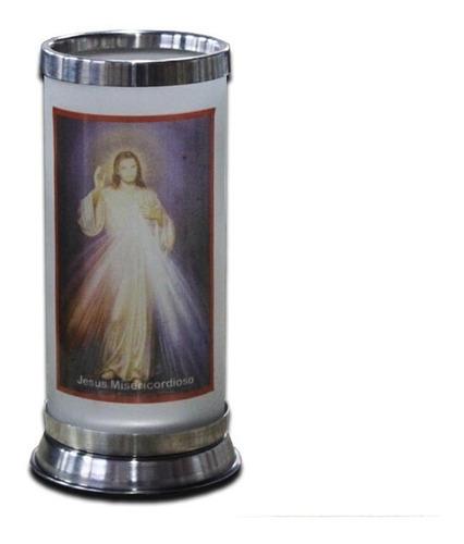 porta vela de vidro jateado com foto do jesus misericordioso