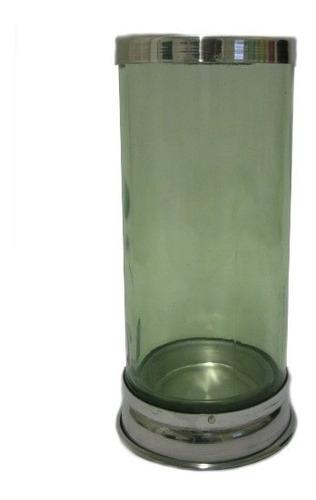 porta vela de vidro  verde  base baixa (unidade)