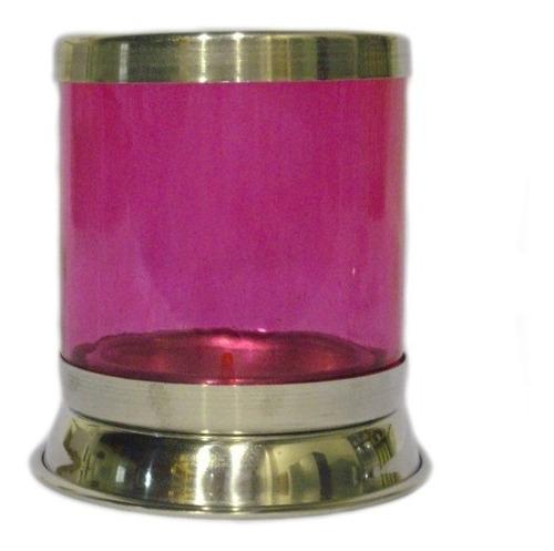 porta vela de vidro  vermelho  base baixa - pequeno