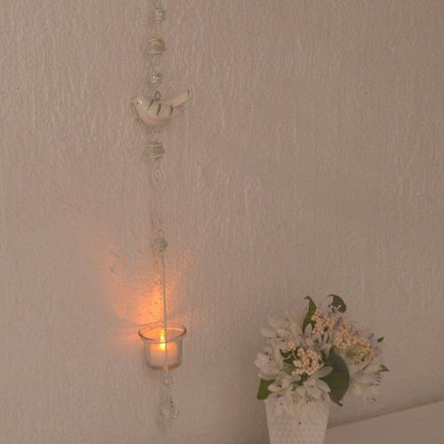 porta vela rechaud pendente branco passarinhos e pingente