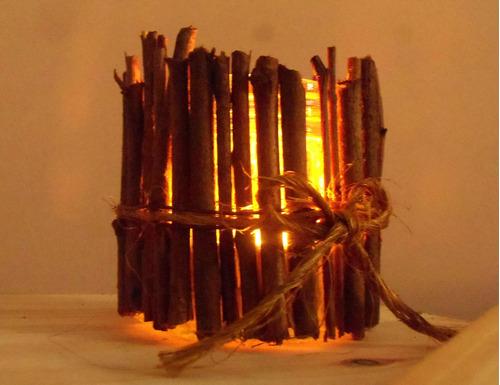 porta velas artesanales rústicos de madera y vidrio