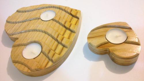 porta velas  corazones  2 pzas, 3 velas madera pino natural