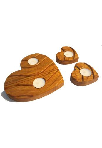 porta velas  corazones  3 pzas, 4 velas madera pino natural