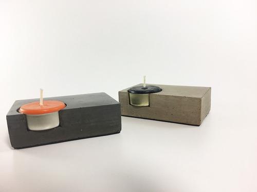 porta velas de cemento alisado diseño minimalista - moderno