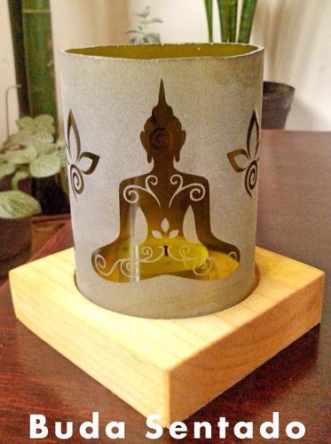 porta velas en vidrio grabado motivo yoga meditación